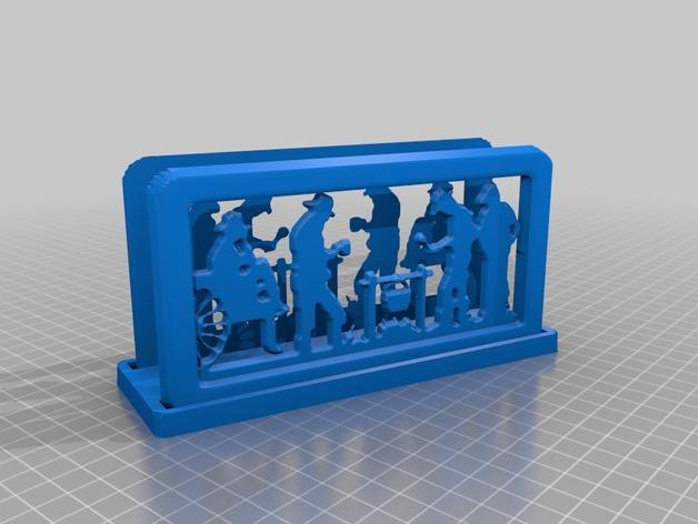 营火主题信件收纳架 3D打印模型渲染图