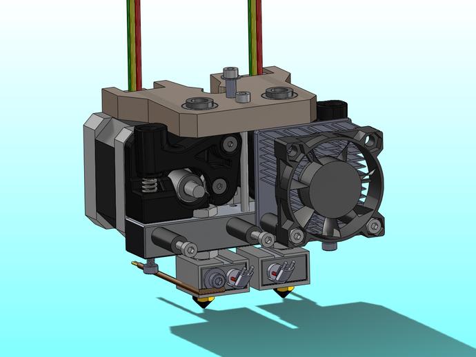 MK8双挤出机  3D打印模型渲染图