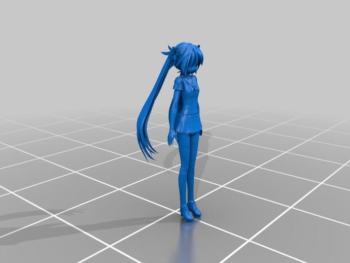 初音未来 3D打印模型渲染图