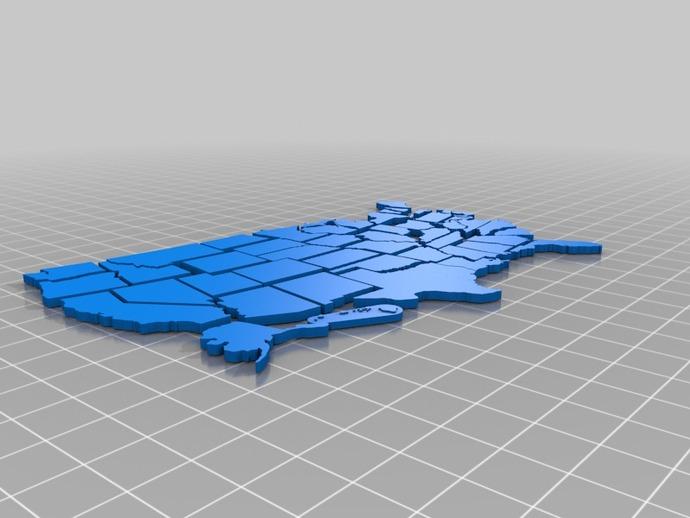 美国拼接地图 3D打印模型渲染图