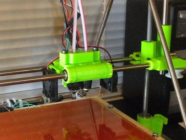 Bowden双挤出机喷头支架 3D打印模型渲染图