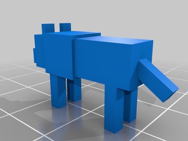 我的世界 狼  3D打印模型渲染图
