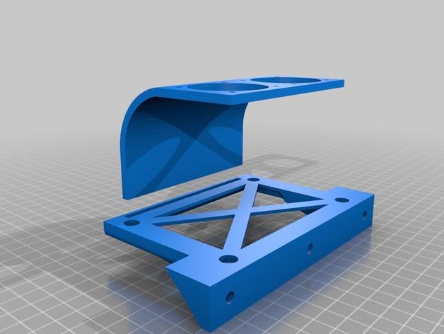 挤出机喷头支架 风扇支架 3D打印模型渲染图