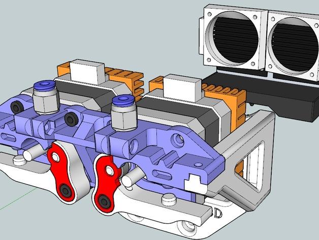 鲍登双挤出机 3D打印模型渲染图