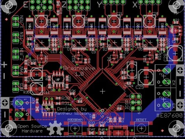 控制器电路板 3D打印模型渲染图