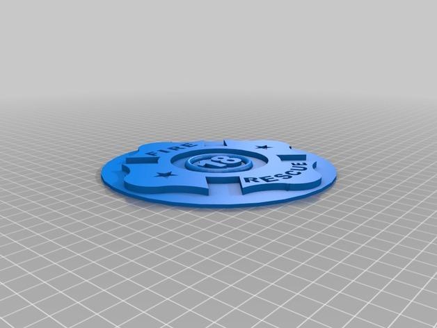 Fire Department 胸章 3D打印模型渲染图