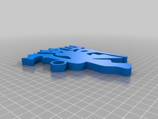 红魔鬼曼彻斯特联队钥匙扣 3D打印模型渲染图