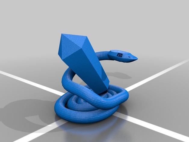蛇和水晶 3D打印模型渲染图