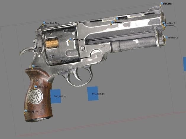 小型手枪摆件 3D打印模型渲染图