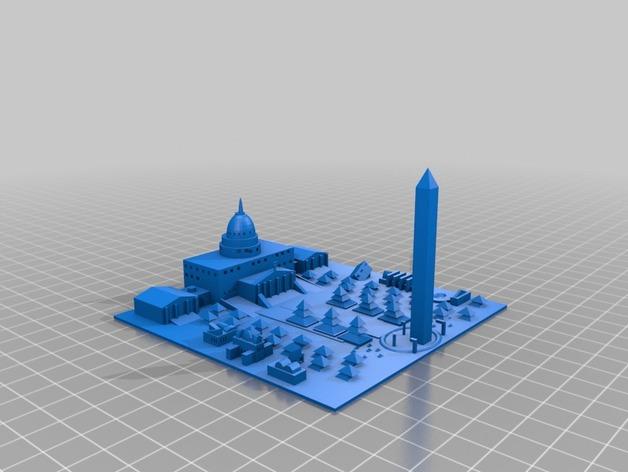 Washington D.C华盛顿特区城市模型 3D打印模型渲染图