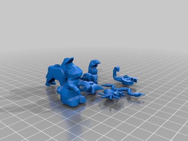 乐高动物摆件2.0 3D打印模型渲染图