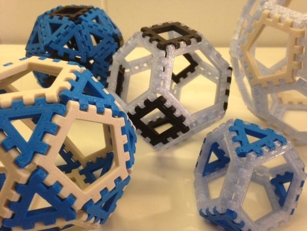 多边形图块 多面体 3D打印模型渲染图