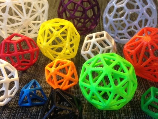 多面体线框几何模型 3D打印模型渲染图