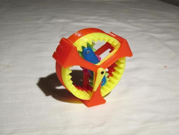 行星齿轮驱动 3D打印模型渲染图