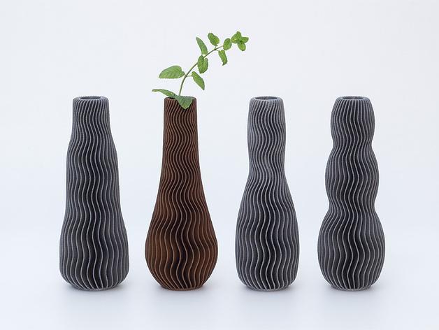 波纹形花瓶模型
