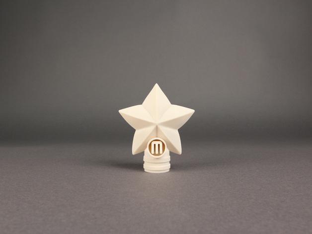 圣诞树顶部星星装饰物  3D打印模型渲染图