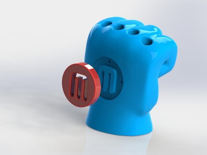 手形笔筒模型