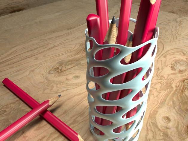 圆形镂空笔筒模型