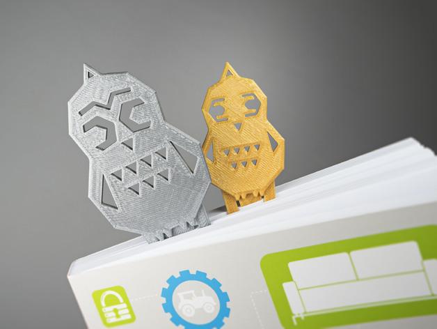猫头鹰形书签#16 3D打印模型渲染图