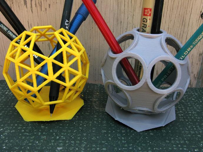球形镂空笔筒 3D打印模型渲染图