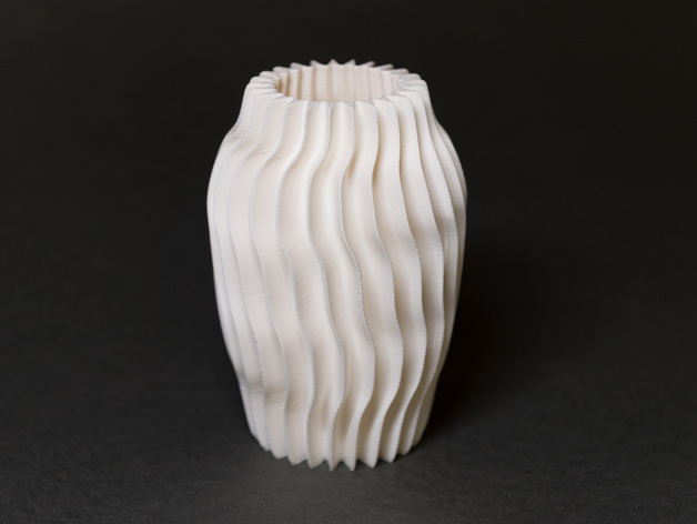 带有凹槽的圆形花瓶 3D打印模型渲染图