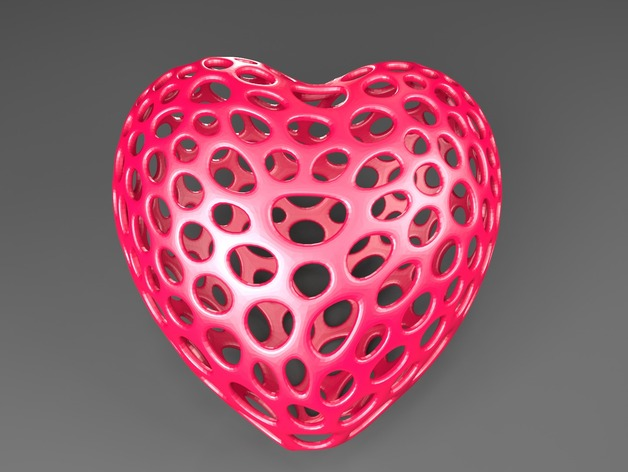泰森多边形镂空心形装饰品 3D打印模型渲染图