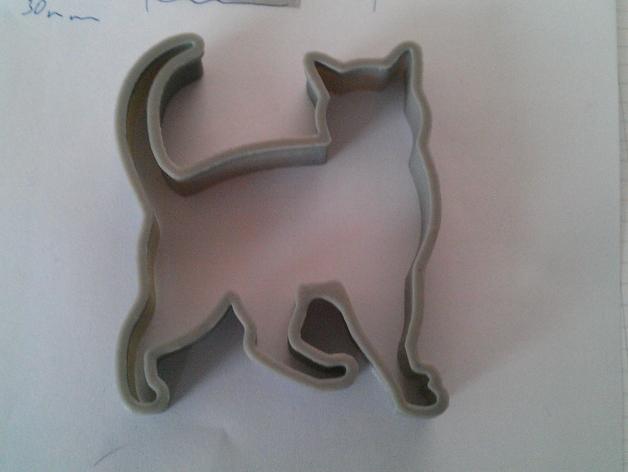 猫形饼干模具切割刀 3D打印模型渲染图