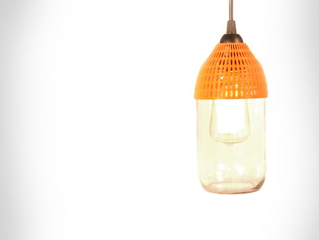 梅森玻璃罐制作的电灯 3D打印模型渲染图