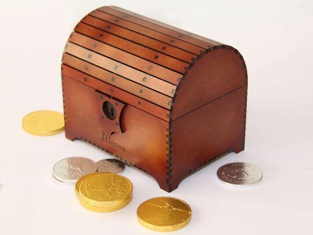 带锁的藏宝箱 3D打印模型渲染图