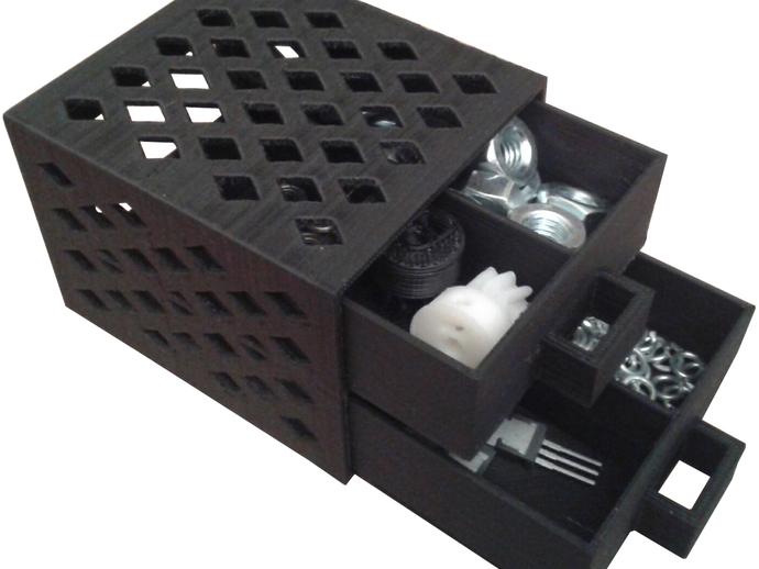 参数化抽屉/储物柜 3D打印模型渲染图