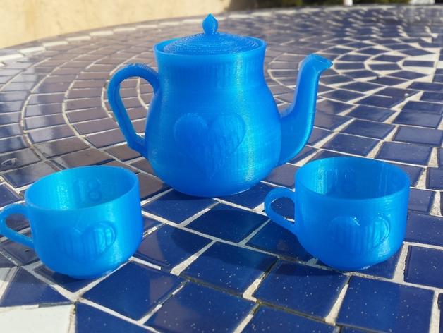 迷你心形茶壶套件 3D打印模型渲染图