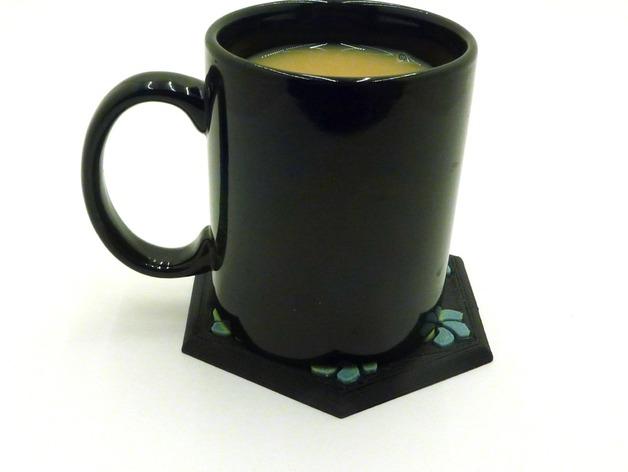 花形六边形杯托 3D打印模型渲染图