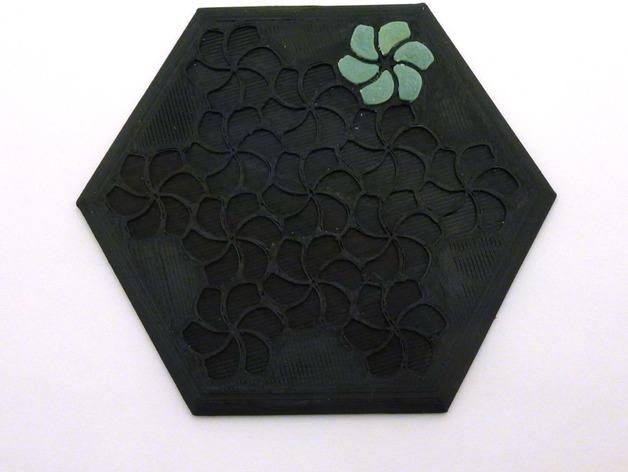 花形六边形杯托