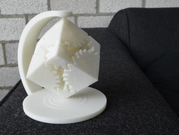 齿轮立方体装饰物 3D打印模型渲染图