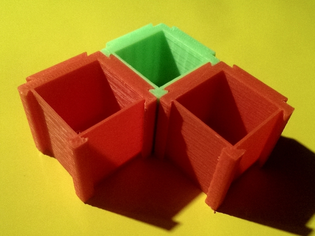 可扩展的方形小盒 3D打印模型渲染图