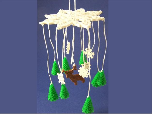 迷你风铃形装饰品 3D打印模型渲染图