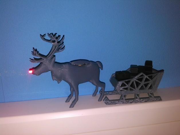 麋鹿雪橇形LED灯 3D打印模型渲染图