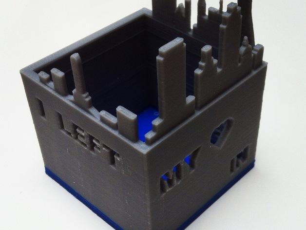 旧金山城市轮廓笔筒 3D打印模型渲染图