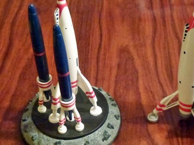迷你火箭形笔筒 3D打印模型渲染图