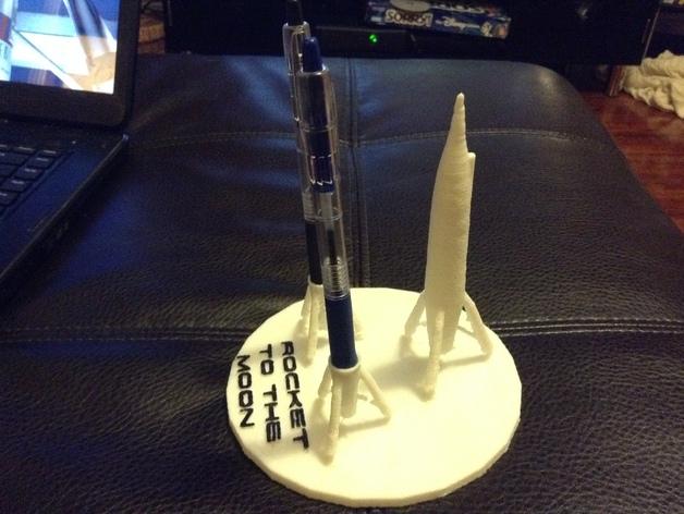 迷你火箭形笔筒