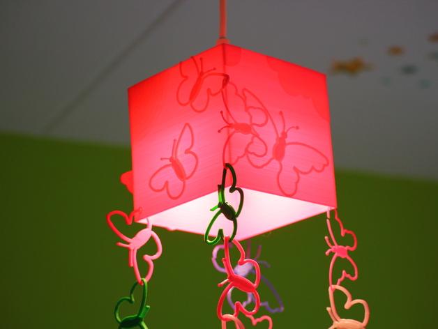 方形蝴蝶灯罩 3D打印模型渲染图