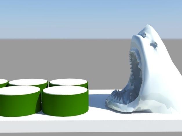 鲨鱼寿司盘 3D打印模型渲染图