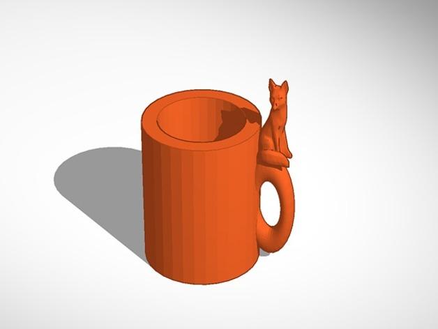 狐狸 马克杯 3D打印模型渲染图