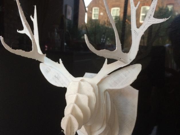壁挂式鹿头装饰品 3D打印模型渲染图