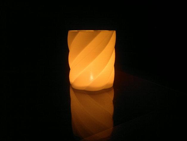 螺旋茶灯灯罩 3D打印模型渲染图