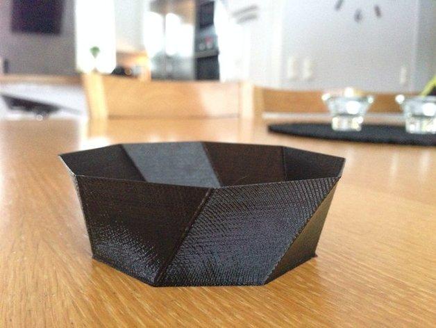 螺旋八边形碗 3D打印模型渲染图