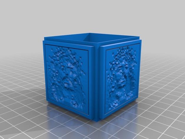 浮光透雕 立方体小盒 3D打印模型渲染图