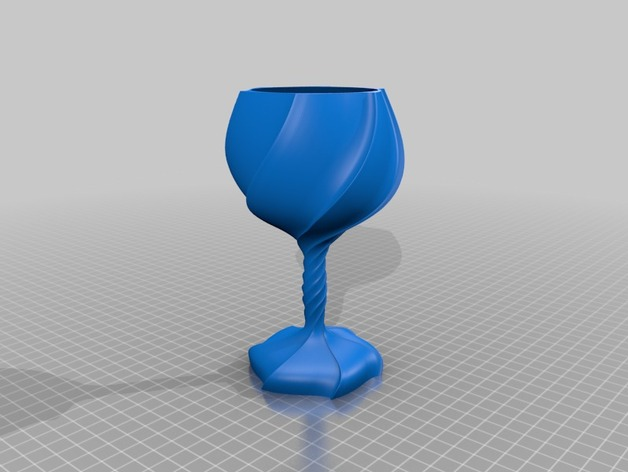 螺旋高脚杯/酒杯 3D打印模型渲染图