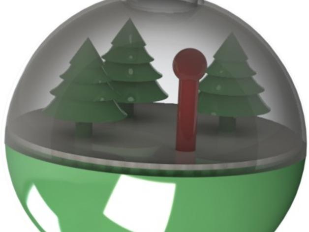 雪景球/雪花玻璃球 装饰品 3D打印模型渲染图
