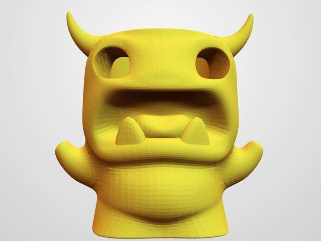 小怪兽笔筒 3D打印模型渲染图